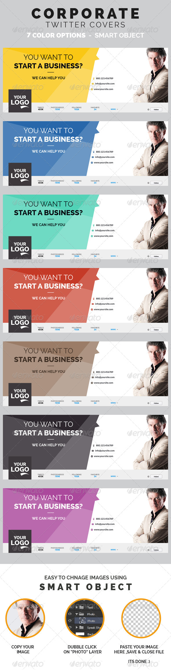 GraphicRiver Corporate Twitter Covers 8407421