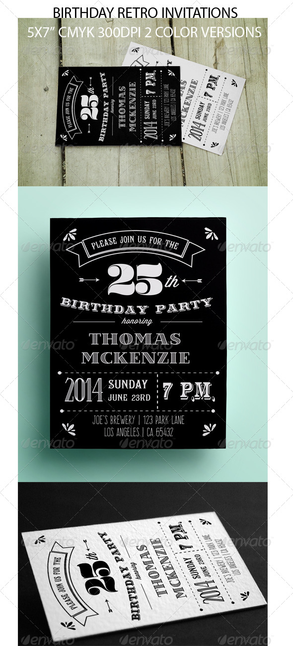 GraphicRiver Retro Black and White Invitation Card 8405878