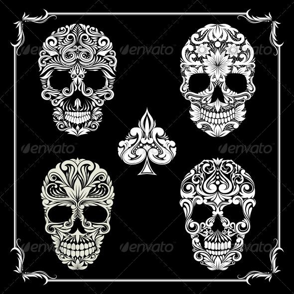 GraphicRiver Black Skull Ornamental 8407654