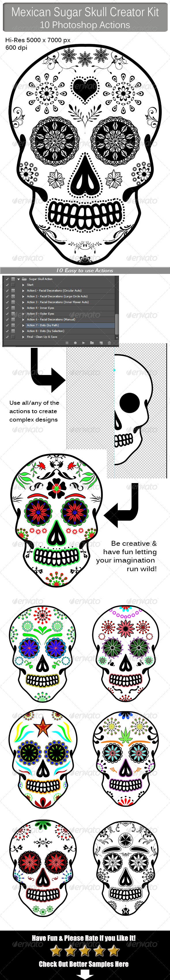 GraphicRiver Mexican Sugar Skull Creator Kit 8407720