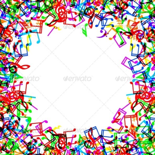 GraphicRiver Music Notes Border Frame 8407742