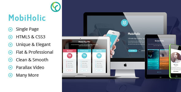 ThemeForest MobiHolic Ultimate App Landing Business Template 8332395