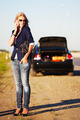 Fashion woman with broken car calling on the cell phone  - PhotoDune Item for Sale