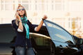 Fashion business woman calling on the phone at the car  - PhotoDune Item for Sale