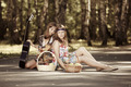 Two hippie girls with guitar in a summer forest  - PhotoDune Item for Sale