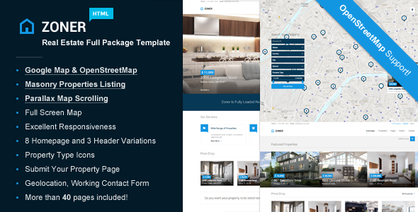 Zoner - Real Estate & Rental Full Package Template - Corporate Site Templates