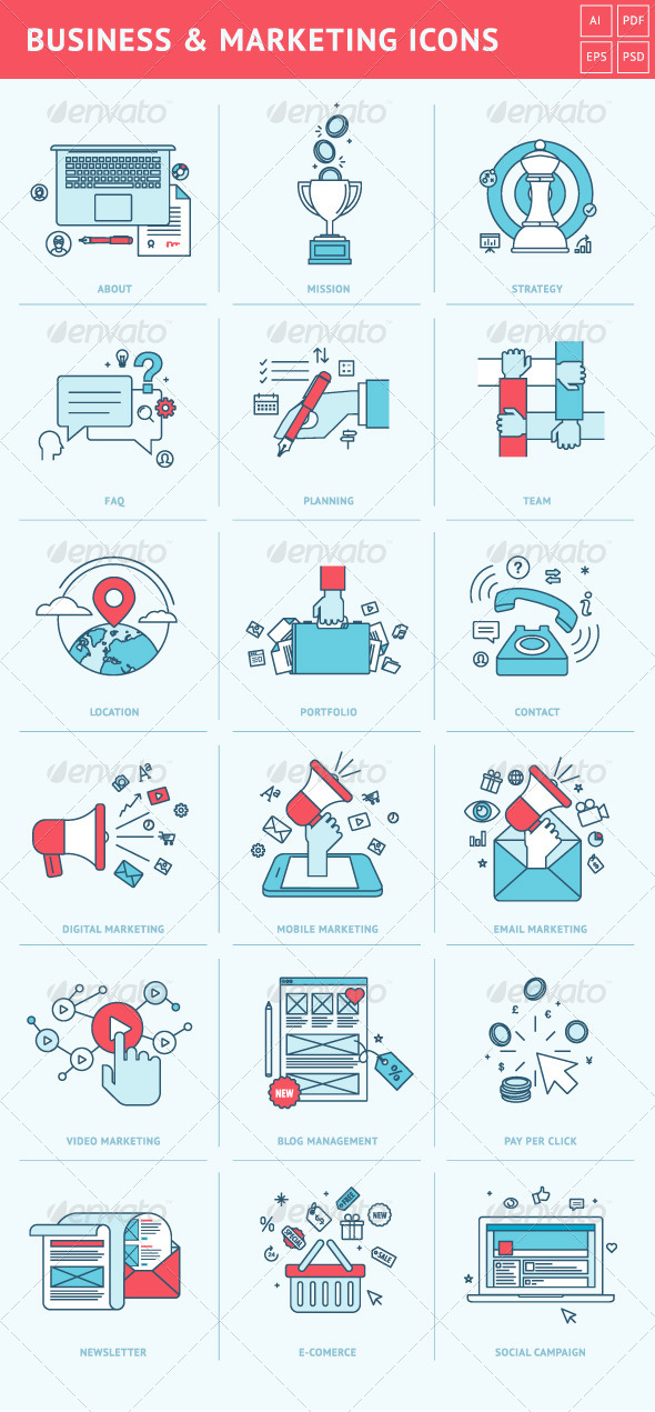 GraphicRiver Flat Line Icons for Business and Marketing 8408353