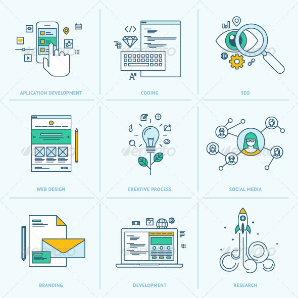 GraphicRiver Flat Line Icons for Web Development 8408411
