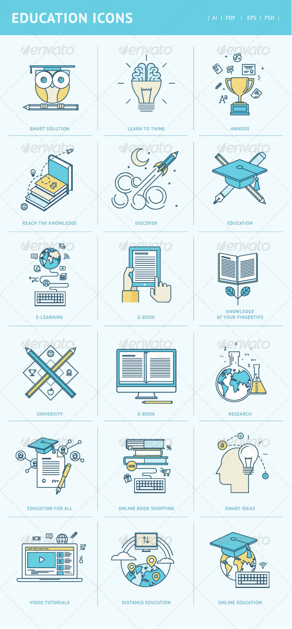 GraphicRiver Flat Line Icons for Education 8408473