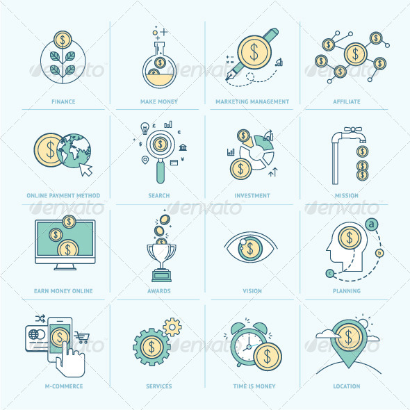 GraphicRiver Flat Line Icons for Finance 8408542