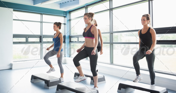 Group of women doing aerobics in gym - PhotoDune Item for Sale