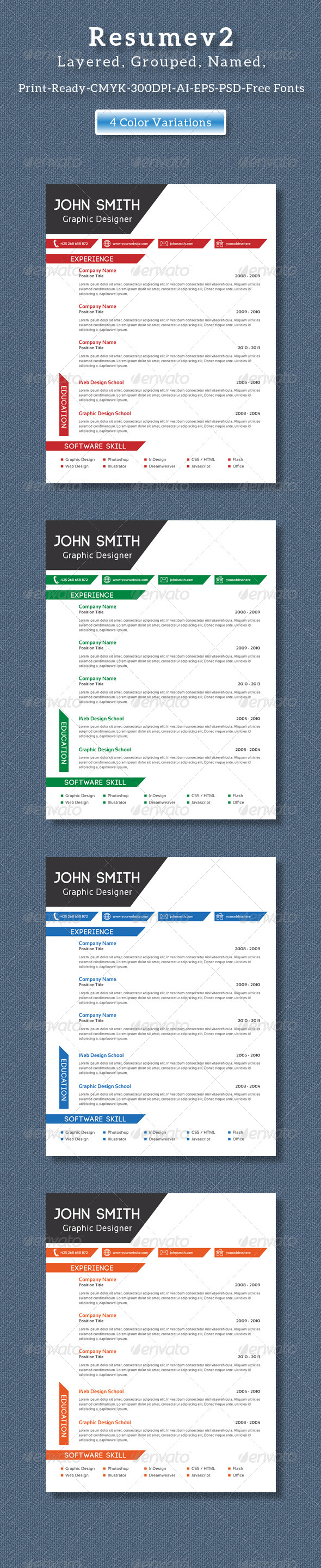 GraphicRiver Clean Creative Resume V2 8408674
