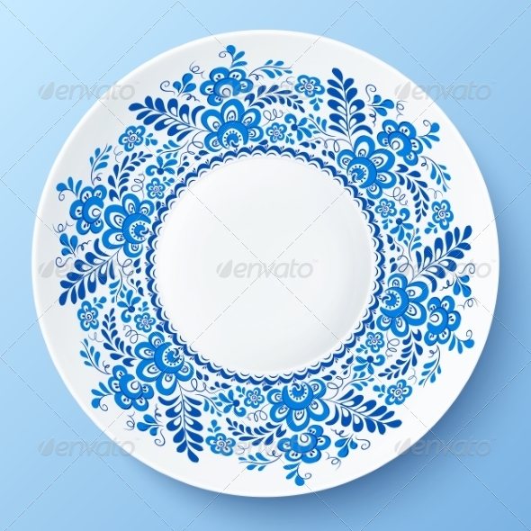 GraphicRiver Blue Plate with Floral Ornament in Gzhel Style 8408925