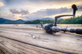 fishing tackle on a wooden float with mountain background in nc - PhotoDune Item for Sale
