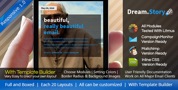 ThemeForest Dream.Story Responsive Email Template & Builder 8387037