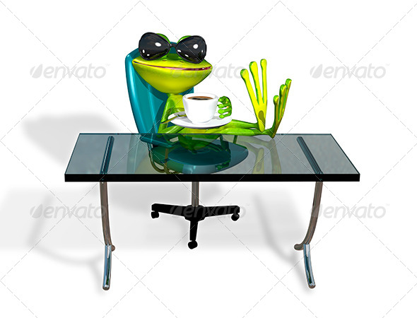 GraphicRiver Frog at a Table With Coffee 8409680