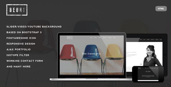 Beuh - Responsive One Page Portfolio Template - Portfolio Creative