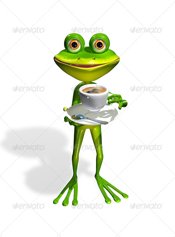 GraphicRiver Frog with a Cup of Coffee 8409717