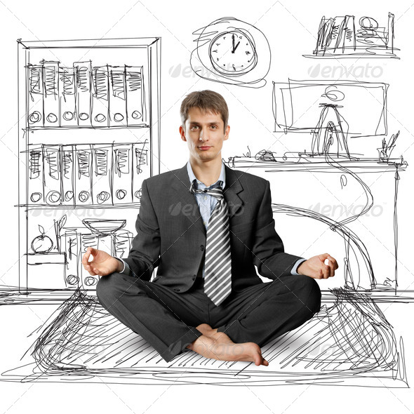 Stock Photo - PhotoDune businessman in lotus pose 856196