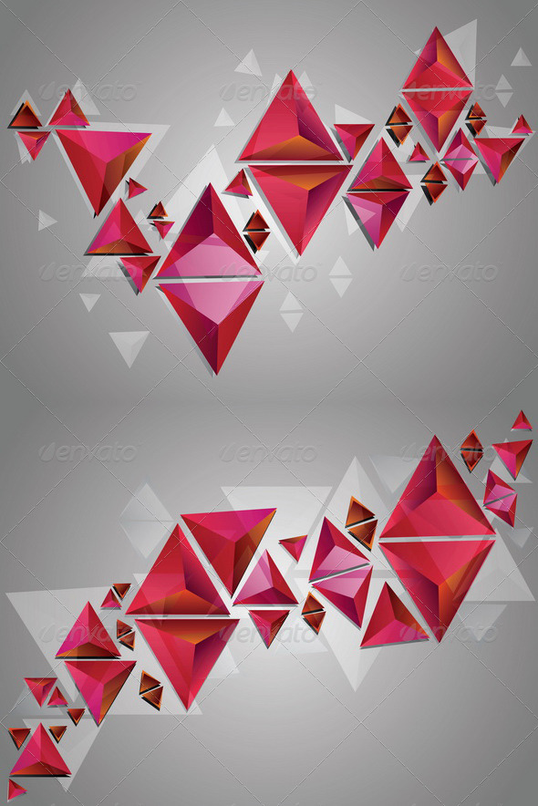GraphicRiver Red 3D Triangles 8409811