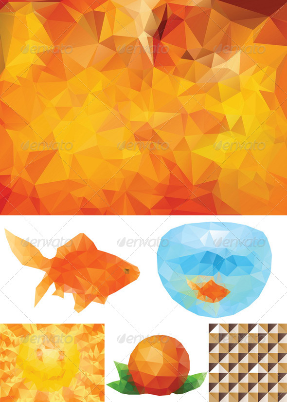 GraphicRiver Yellow Polygonal Background 8409813