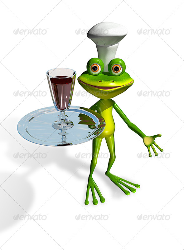 GraphicRiver Frog With A Glass Of Wine On A Tray