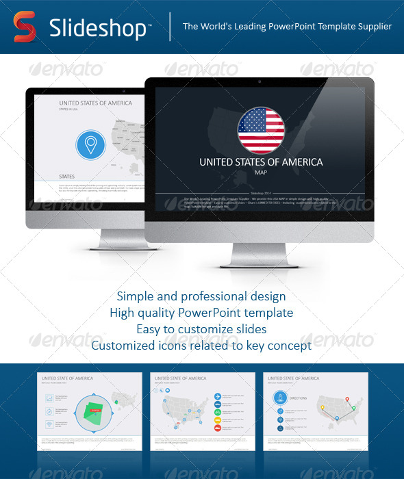 GraphicRiver USA Map Flat 8234089