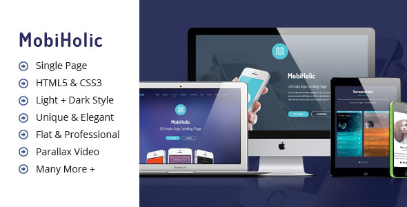 MobiHolic - Ultimate App Landing Business Template - Apps Technology
