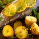 Potatoes And Lemon On Trout Fillet - PhotoDune Item for Sale