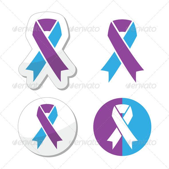 GraphicRiver Purple and Blue Ribbon Paediatric Strokes 8410988