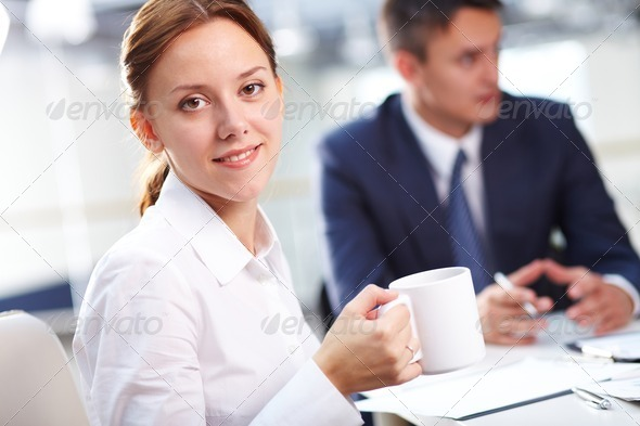 Secretary with coffee - Stock Photo - Images