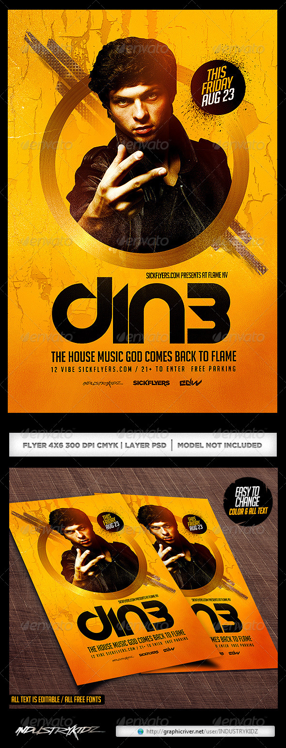GraphicRiver Dj Abstract Flyer Template 8411055