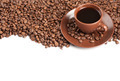 Coffee cup and beans on a white background - PhotoDune Item for Sale