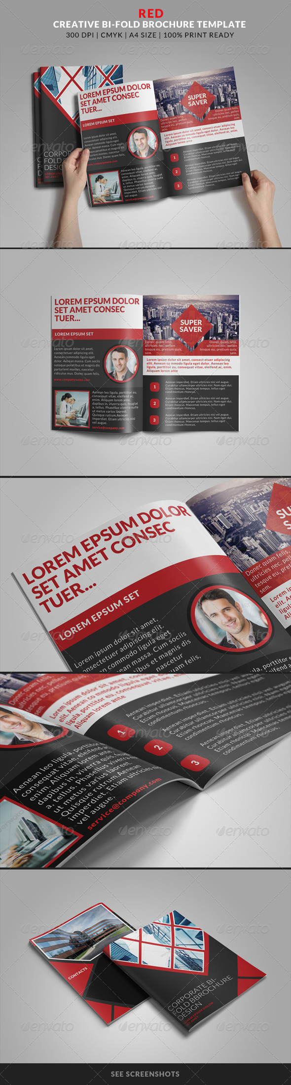 GraphicRiver Red Creative Bi-Fold Brochure Template 8203269