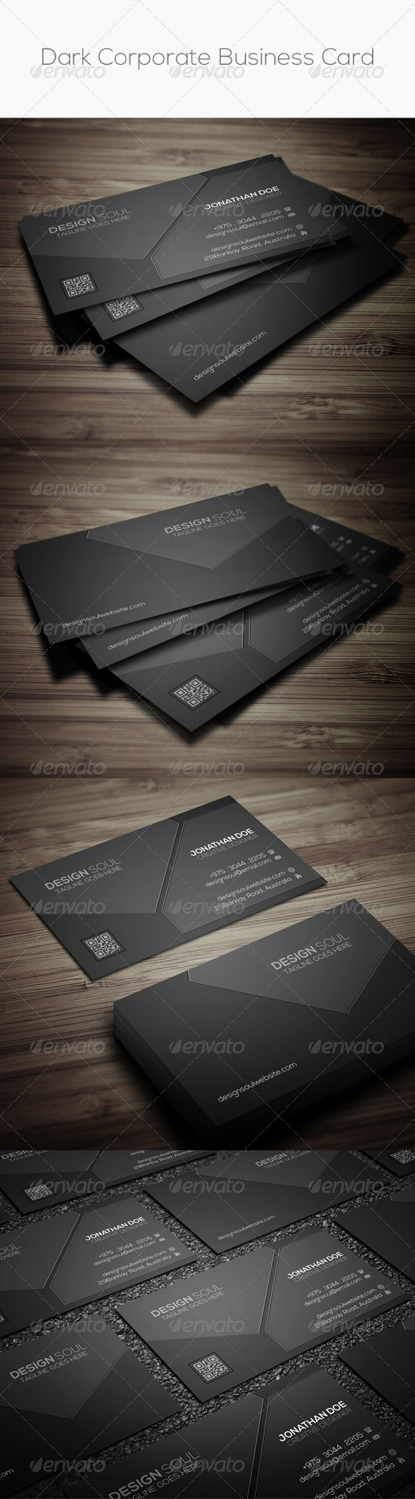 GraphicRiver Dark Corporate Business Card 8411907