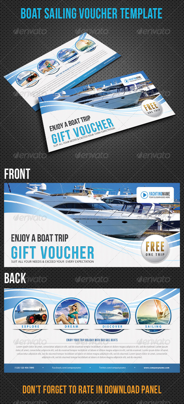 GraphicRiver Boat Sailing Gift Voucher V22 8411921