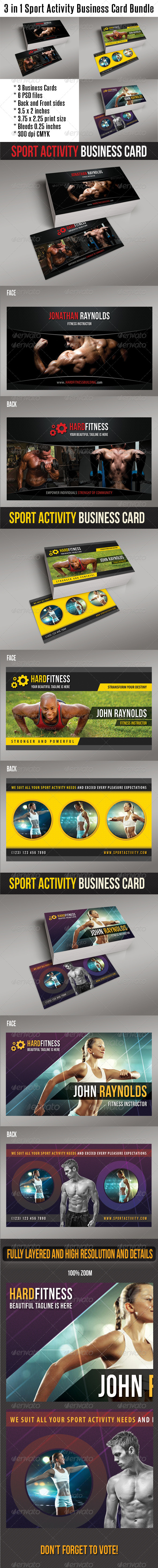 GraphicRiver 3 in 1 Sport Activity Business Card Bundle 01 8412353
