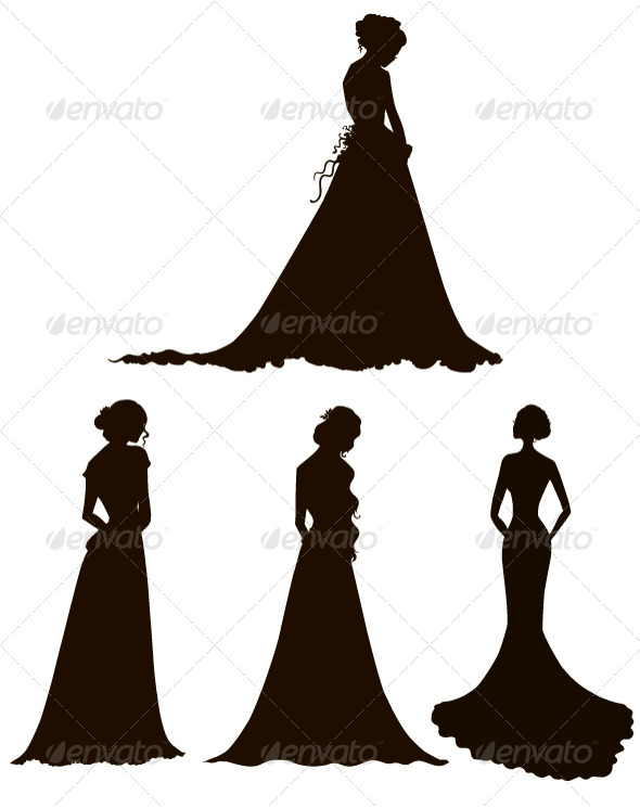 GraphicRiver Bride Silhouettes 8412495