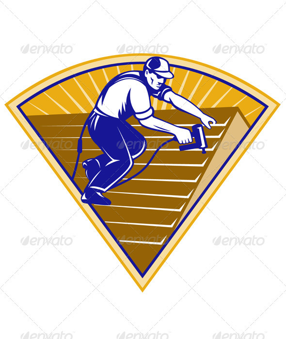 Vectors - Roofer Roofing Worker Working on Roof   GraphicRiverRoofer Vector