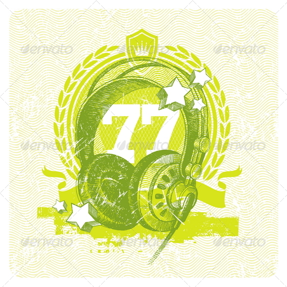 GraphicRiver Illustration with Hand Drawn Studio Headphones 8412939