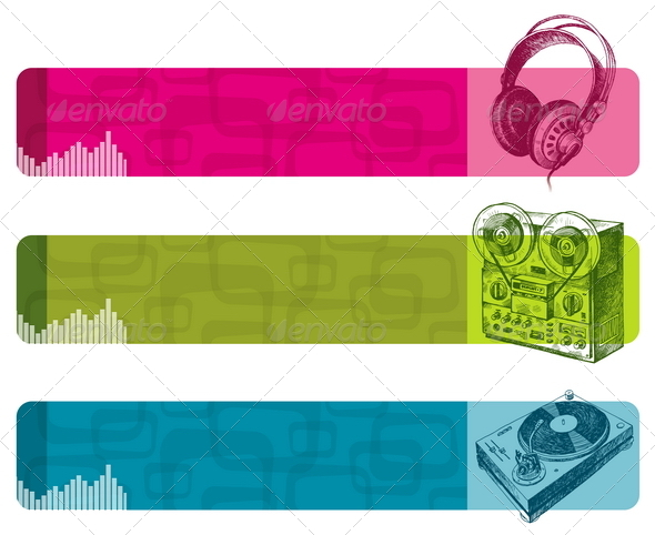 GraphicRiver Banners with Hand Drawn Musical Equipment 8413509