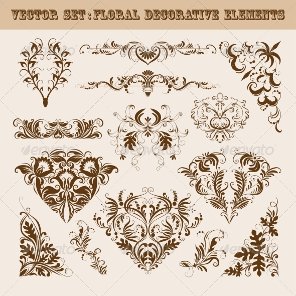 GraphicRiver Vector Set of Floral Decorative Elements 8413606