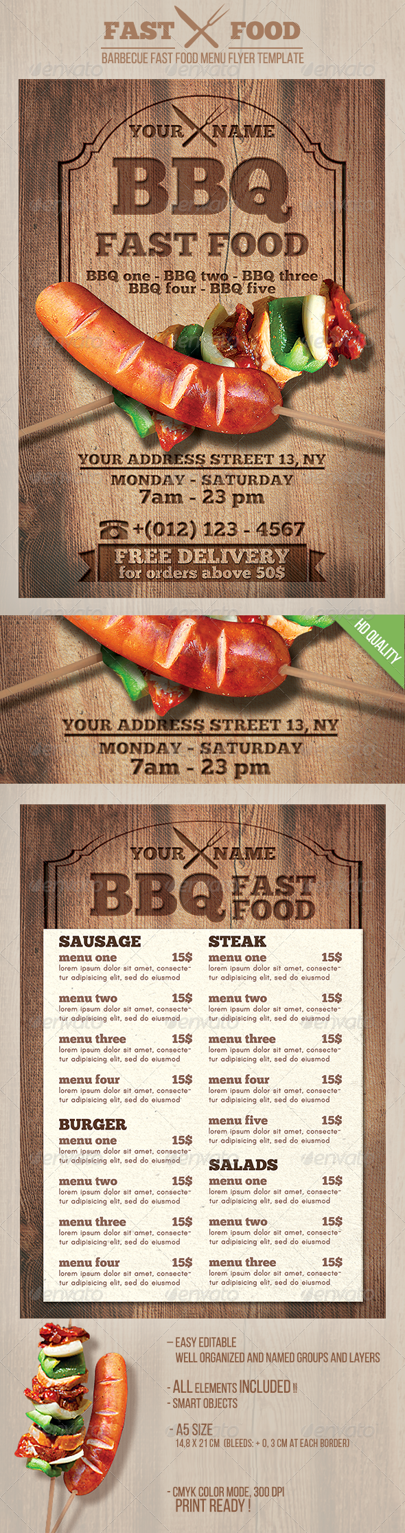 GraphicRiver BBQ Fast Food Flyer 8392373