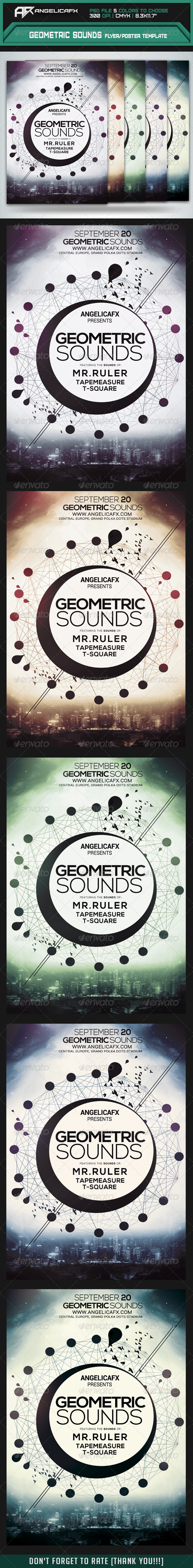 GraphicRiver Geometric Sounds Flyer Poster Template 8413765