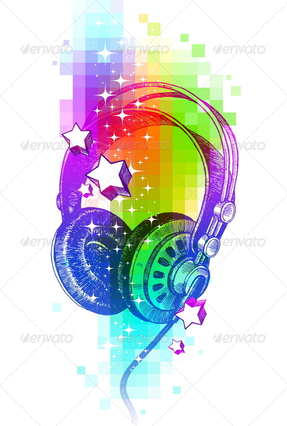 GraphicRiver Design with Hand Drawn Headphones 8413836