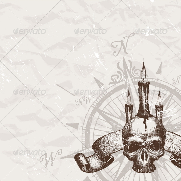 GraphicRiver Hand Drawn Compass Rose and Piracy Skull 8413873