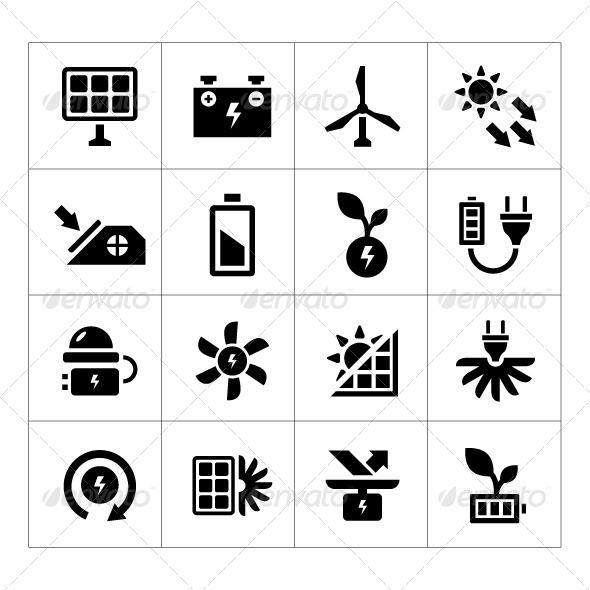 GraphicRiver Set Icons of Alternative Energy Sources 8413883