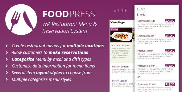 foodpress - Restaurant Menu & Reservation Plugin - CodeCanyon Item for Sale