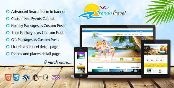 ThemeForest Trendy Travel- Multipurpose Tour Package WP Theme 8414684