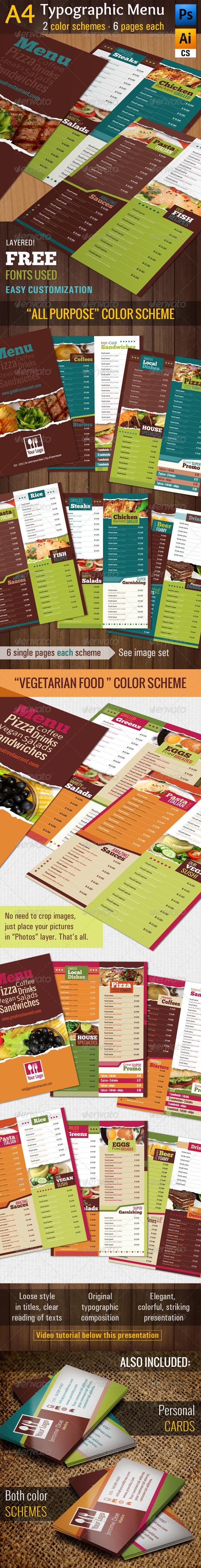 A4 Typographic Menu All Purpose & Vegan Food